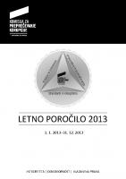Poročilo o delu komisije 2013